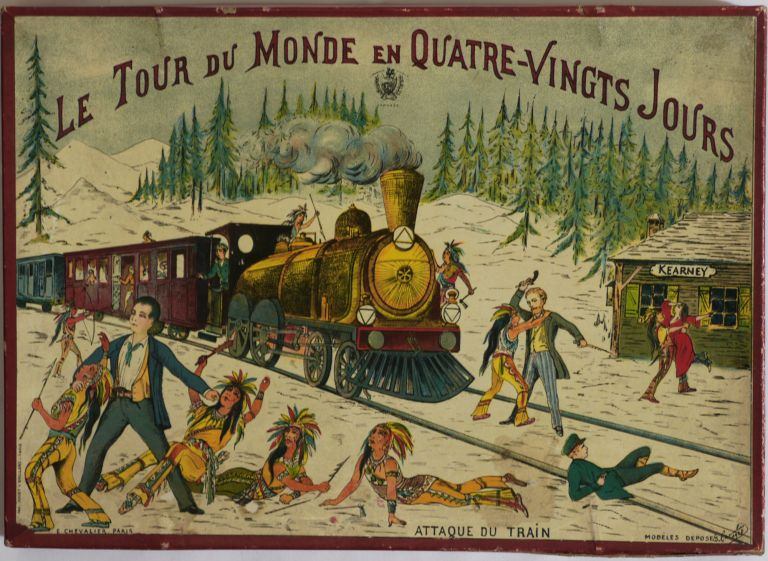 """[An Attractive Set of Five Chromolithographed Jigsaw Puzzle Pictures with the Scenes from Jules Verne's """"Around the World in 80 Days,"""" in the Original Box and with Five Chromolithograph Prototypes Showing the Complete Pictures:] Le Tour du Monde en Quatre-Vingt Jours. GAME - AROUND THE WORLD IN 80 DAYS, Eugene CHEVALLIER."""