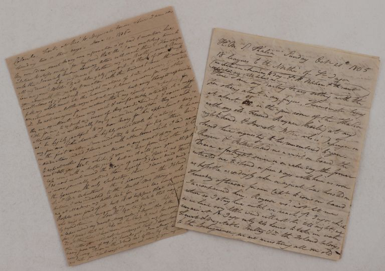 "[Two Extensive Autograph Letters Signed ""W.H. Cleather"" to his Sister Mary Littlehales, Describing his Early Service in the Military Regiment in British Ceylon, with notes on His Travel to Ceylon on Board HMS Thalia, Colombo Garrison and Officers, Local Society, Day Schedule et al]. ASIA - SRI LANKA, William H. CLEATHER, Captain' 1st Ceylon Regiment."