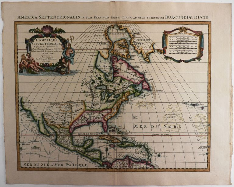 [Copper Engraved Map of North America, Titled:] L'Amerique Septentrionale Dressee sur les Observations de Mrs. De l'Academie Royale des Sciences. NORTH AMERICA, Guillaume de L'ISLE.