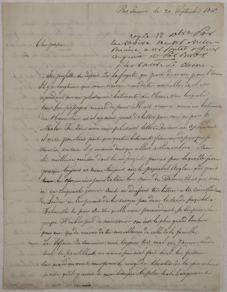 "[Autograph Letter in French from a Young French Cotton Merchant in Rio de Janeiro to his Father, Signed ""J.H. Laine,"" with the latest News about the Brazilian Market]. SOUTH AMERICA - BRAZIL - RIO DE JANEIRO, J. H. LAINE."