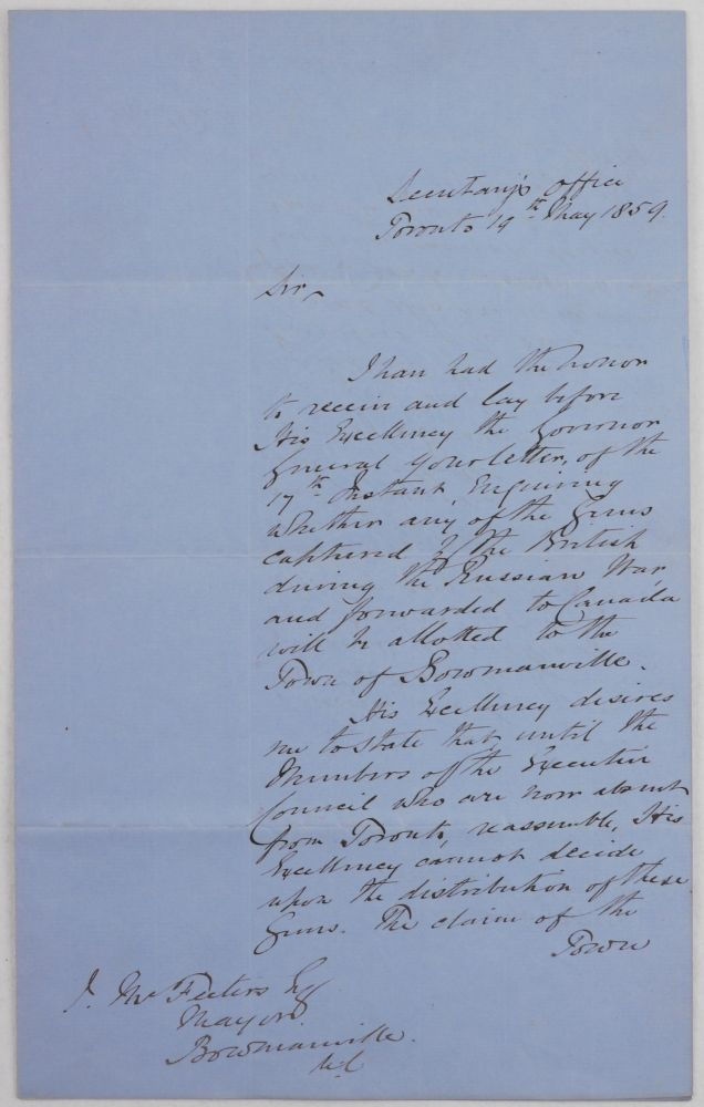 "[Autograph Letter Signed ""Meredith"" to James McFesters, the Mayor of Bowmanville, Regarding Russian Guns Captured During the Crimean War and Transferred to Canada]. NORTH AMERICA - CANADA - CRIMEAN WAR, Edmund Allen MEREDITH."