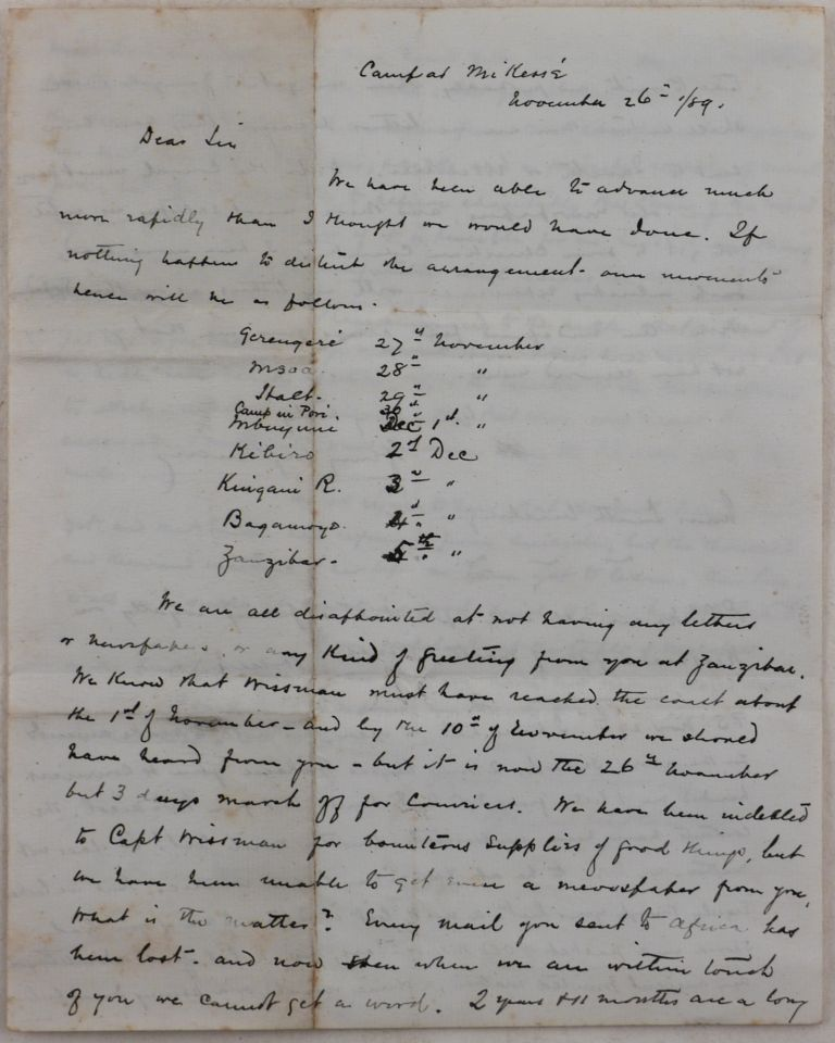 [Rare Original Expedition Letter Written and Signed by Henry Stanley in the Camp at Mikese, German East Africa (Modern-Day Tanzania) during the Last Phase of the Emin Pasha Relief Expedition]. Sir Henry Morton STANLEY.