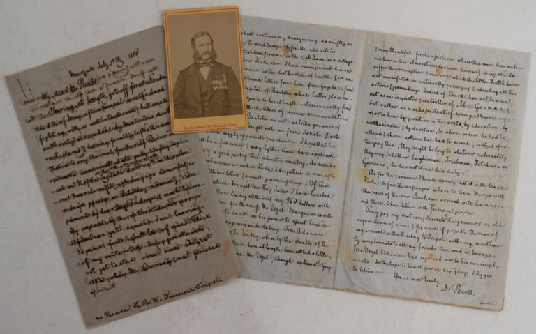 "Two Historically Important Expedition Autograph Letters Signed ""Yours Most Truely Dr. Barth""..."