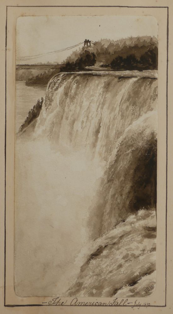 "[Album with Twenty-one Original Watercolours Signed ""F.E.W."" and Titled:] Sketches in the United States of America and Canada. NORTH AMERICA - NIAGARA FALLS, Frederic E. WALTON."