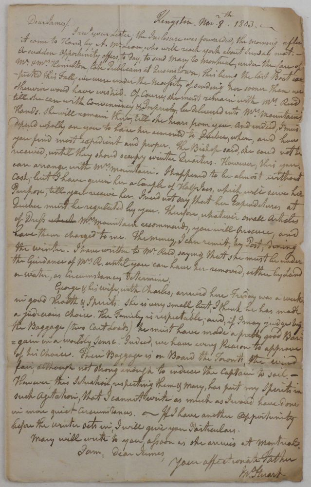 "[Autograph Letter Signed ""Jn. Stuart"" to His Son, James Stuart, then Personal Secretary of Lieutenant Governor of Lower Canada Sir Robert Milnes]. NORTH AMERICA - CANADA - UPPER, Rev. John STUART."