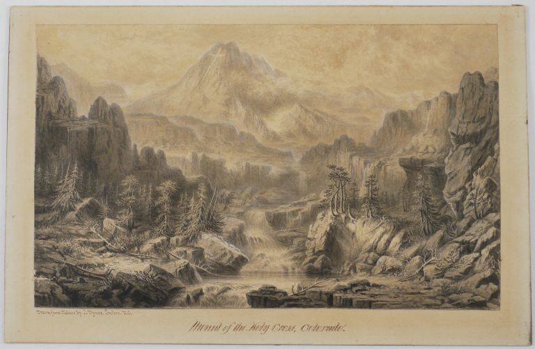 [Sepia Watercolour and Ink Painting:] Mount of the Holy Cross, Colorado - Drawn from Nature by J. Dynes. Quebec V.C. [Canada]. COLORADO, Joseph DYNES, Canadian.