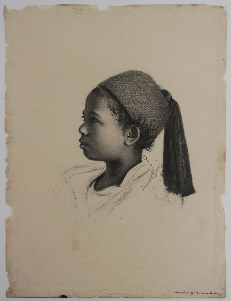 """[Collection of Nine Original Drawings by Wilhelm and Ismael Gentz, Leopold Mueller, and Charles Welsch, Used as Prototypes for Illustrations in Georg Ebers' Encyclopaedic Work """"Aegypten in Bild und Wort (Stuttgart & Leipzig 1879-80);"""" [Egypt: Descriptive, Historical, and Picturesque] [With]: Complete Sets of both the First German and the First English Editions of the Book]. MIDDLE EAST, ISLAMIC WORLD - EGYPT, Wilhelm GENTZ, MUELLER Ismael, Leopold, Charles WELSCH."""