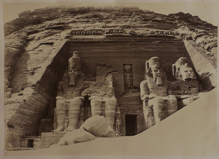 [Album with Twenty-One Original Albumen Photos of the Ancient Temples of Egypt (Djoser Pyramid in Saqqara, Temples in Dendera, Karnak, Luxor, Abu Simbel, Philae Island), Nile's First Cataract, Tombs of the Califs and Sultan Hassan Mosque in Cairo, the Bacchus Temple in Baalbec, Wailing Wall in Jerusalem, the Valley of Josaphat, and others, Titled:] Documents Archéologiques sur la Egypte. Nubie. Syrie. P. Verdier de Latour, 1875. MIDDLE EAST, ISLAMIC WORLD - EGYPT, ca. 1830 - d. 1869.