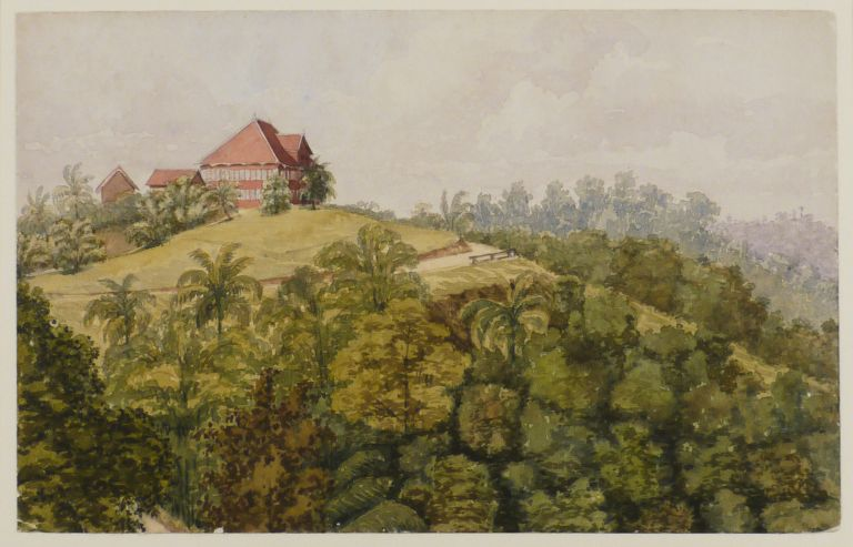 [Two Original Watercolours of the Andaman Islands, Titled on Verso]: 1) Ross Islands from the Aberdeen District Officers' House, Port Blair; and 2) Government Rest House, Mount Harriet – Port Blair. ASIA - ANDAMAN ISLANDS, Sir Hastings Hadley D'OYLY.
