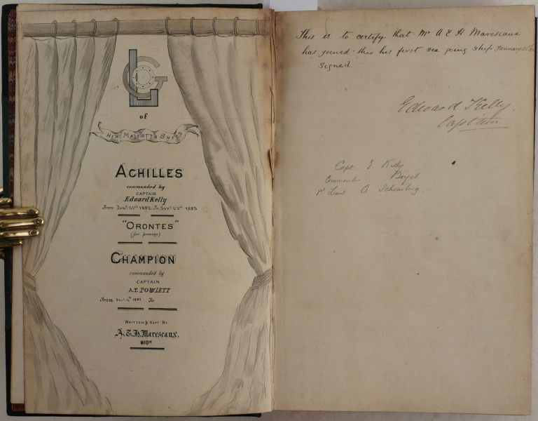 """[Collection of Several Original Logbooks of 1882-1886, Kept by a Young Midshipman on Board of Several Royal Navy Ships, Bound Together with Information on Hong Kong, Singapore, Geomundo Islands, Battle of Fuzhou, French Blockade of Taiwan, Bombardment Of Alexandria and Titled:] Logs of Her Majesty's Ships """"Achilles"""" Commanded by Captain Edward Kelly from Jany/ 21st 1882 to Sept. 23rd 1883, """"Orontes"""" (for passage), """"Champion,"""" Commanded by Captain A.T. Powett from Decr. 16th, 1883 to… Written & Kept by A.E.H. Marescaux, Midn. CHINA STATION, MARESCAUX, midshipman Alfred Edward Hay."""