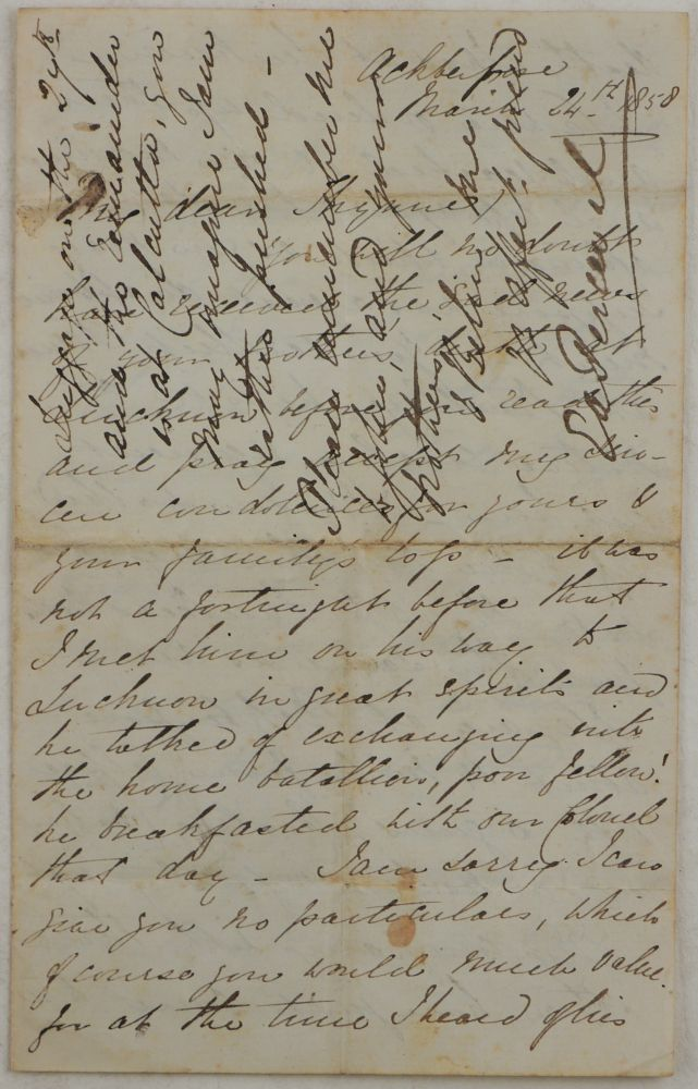 "[Original Autograph Letter Written in Akbarpur by a British Officer during the Indian Mutiny, Mentioning the Capture of Lucknow, Death of Captain William Thunne, the Troops' Movement, ""Calpee Force,"" the Beginning of the Hot Season, Plans to Hunt and Take Part in a Steeplechase, etc.]. ASIA - INDIAN MUTINY, Ernest-Augustus PERCEVAL."
