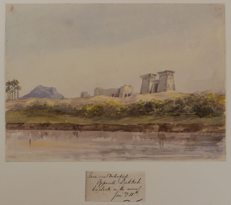 [Rare Collection of Twenty-Seven Early Original Watercolour Views of the Nile, Taken During a Cruise in Winter 1864-1865 and Showing the Ancient Sites and Cliffs of Upper Egypt and Nubia, and the Second Cataract]. MIDDLE EAST, ISLAMIC WORLD - EGYPT, NUBIA.