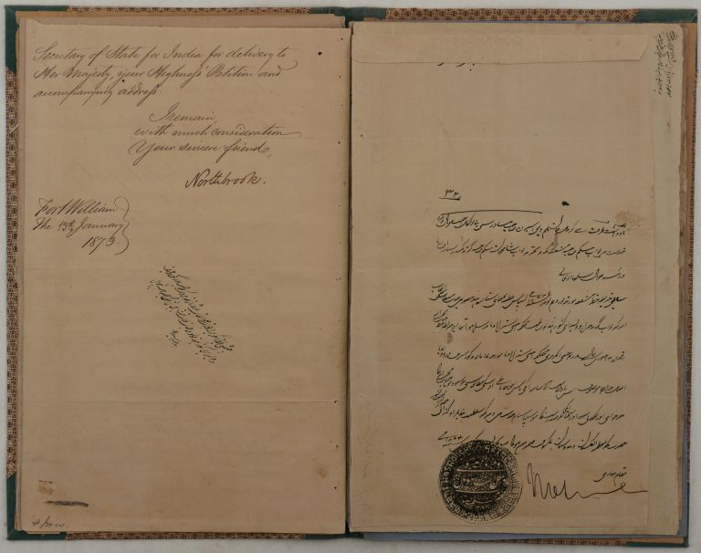 "[An Office Folder with a Formal Autographed Letter Signed ""Northbrook,"" Written in Fine Palace Script and Addressed to Sultan Shah Jehan, the Female Ruler of the Princely State of Bhopal; With ca. Eleven Official Related Period Manuscripts in Urdu, Seven Verified as ""True Copy"" or ""True Translation"" by J.W. Willougby-Osborne - ""Political Agent, Bhopal,"" Capt. Dalrymple - ""Assistant Political Agent, Bhopal,"" and C.U. Aitchison - ""Secretary of the Govt. of India, Foreign Department""]. ASIA – INDIA - BHOPAL, Thomas George Baring NORTHBROOK, 1st Earl of, Viceroy of India."