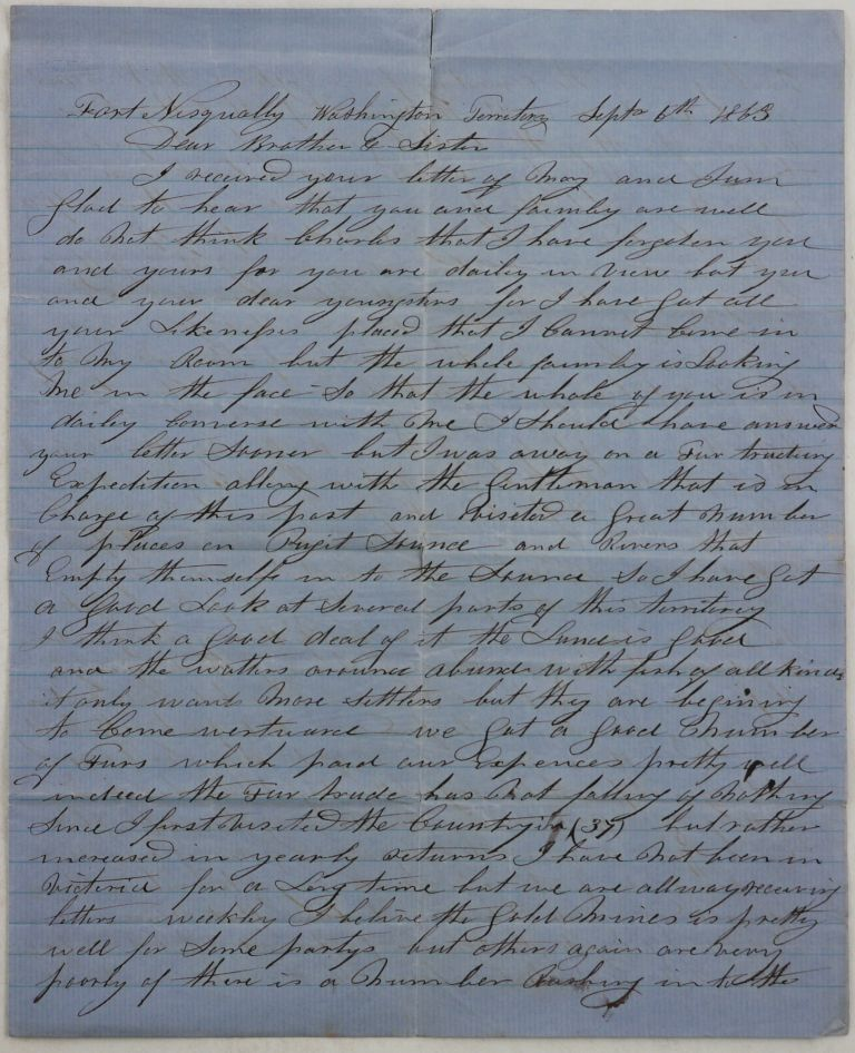 "[Autograph Letter Signed to His Brother ""Charlie,"" Describing His Recent Fur Trade Expedition in the Puget Sound, and Sharing His Impressions on the Fraser River Gold Rush]. NORTH AMERICA - FRASER RIVER GOLD RUSH, William MITCHELL."