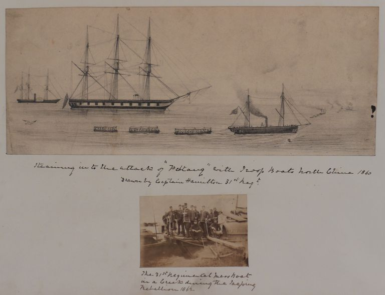 [Album of Three Original Albumen Photographs, One Pencil Drawing and Two Watercolour Plans Illustrating the Third Battle of the Taku Forts during the Second Opium War in July-August 1860, Including Plans of the Forts and a nearby City of Tientsin/ Tianjin, a Scene with British Naval and Troop Ships Approaching the Landing Site at Pehtang/Beitang, and Group Portraits of the Officers of the British 31st Regiment of Foot who took Part in the Battle and were Stationed in Tientsin in 1861-62]. ASIA - CHINA - SECOND OPIUM WAR.