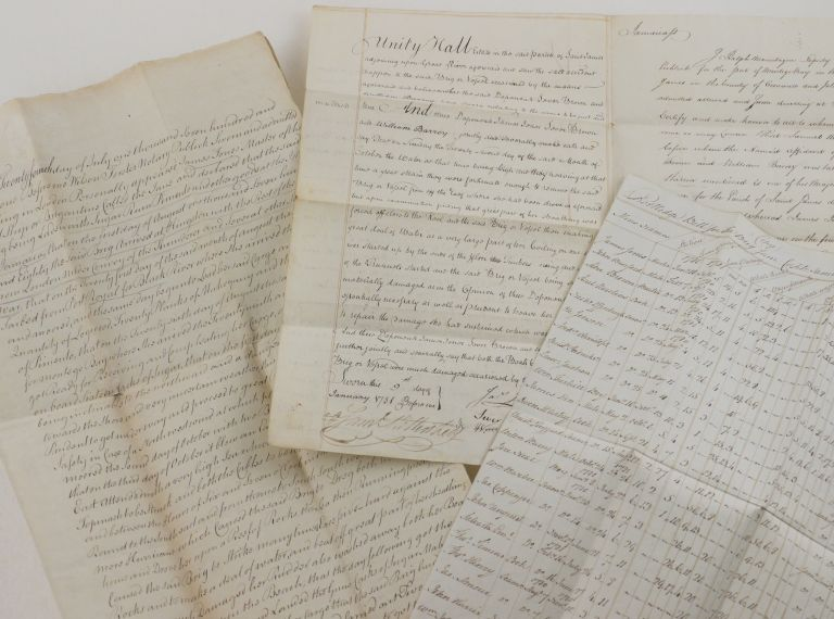 [Two Detailed Manuscript Testimonials of a Voyage of the Merchant brig Jane to the West Indies in 1780, and the Circumstances of Her Shipwreck during the Savanna-la-Mar Hurricane, Notarially Certified in Montego Bay and London; [WITH] a Period Copy of Jane's Portledge Bill for 1781]. CARIBBEAN - JAMAICA - SHIPWRECK.