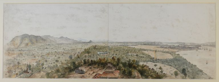 [Mawlamyine, Burma: Original Double-Page Watercolour Showing a Panoramic View of Moulmein]. ASIA - BURMA - MAWLAMYINE, Morden CARTHEW-YORSTOUN, Lt. Colonel, 1832 - after 1905.