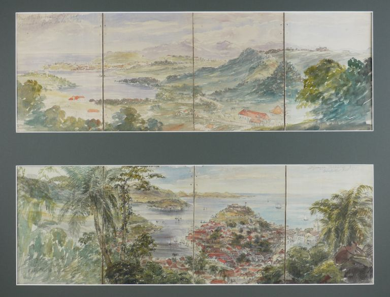 "[Two Watercolour Panoramas each on four Joined Sheets Titled: ""St. Georges, Grenada from Hospital Hill,"" & ""View of the Harbour, St. Georges, Grenada, from Belmont Hill."" Dated on verso 1852.]. CARIBBEAN - GRENADA, Captain Henry A. Royal Artillery TURNER, Active."