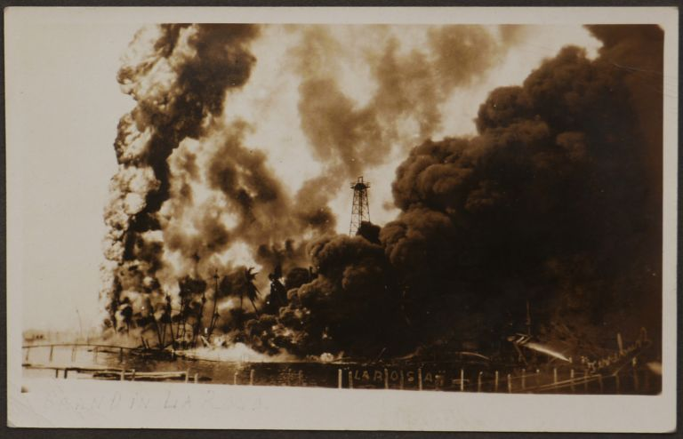 [Album with 197 Original Gelatin Silver Photographs and Real Photo Postcards of Caracas and Lake Maracaibo Oil Fields, Showing Venezuelan Oil Concessions' Facilities at La Rosa/Cabimas Oil Field, Portraits of the Workers, Views of the Towns and Cities of Cabimas, Maracaibo, Caracas, Puerto Cabello, Portraits of Indigenous People, etc.]. SOUTH AMERICA – VENEZUELA – OIL FIELDS, A. MUELLER, A. M., GOMEZ, Alcero, FERREBUS RINCON, FOTOGRAFIA MIRABAL.