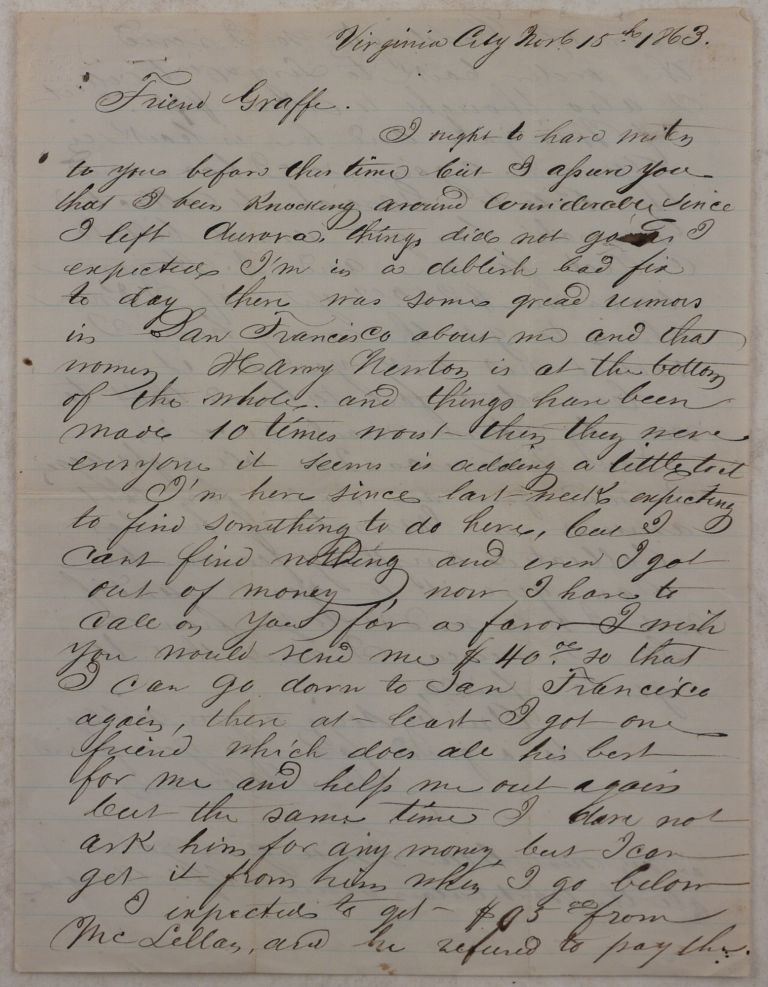 [Autograph Letter Signed from the Nevada Mining Town Virginia City, Mentioning Aurora (once a Gold and Silver Boomtown, but now a Ghost Town)) and Several of its Citizens, Including A.M. or C.D. Wingate, Joe Coddington and Francis Garesche]. NORTH AMERICA - NEVADA TERRITORY, Leon SALOMON.