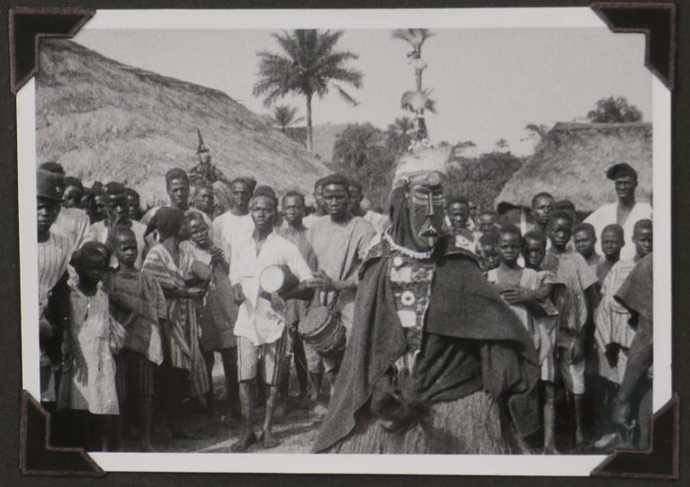 """[Collection of Four Albums with Over 700 Original Gelatin Silver Photographs, and 17 Real Photo Postcards Taken and Collected During the Leipzig Zoo 1926-1927 Expedition to Northern Liberia; With a Large Chromo-lithographed Poster for the Documentary Film """"Durch unbekanntes Afrika"""" (""""Through Unknown Africa"""") about the Expedition]. AFRICA - LIBERIA – ZOO EXPEDITION, Director of the Leipzig Zoo, Johannes GEBBING."""