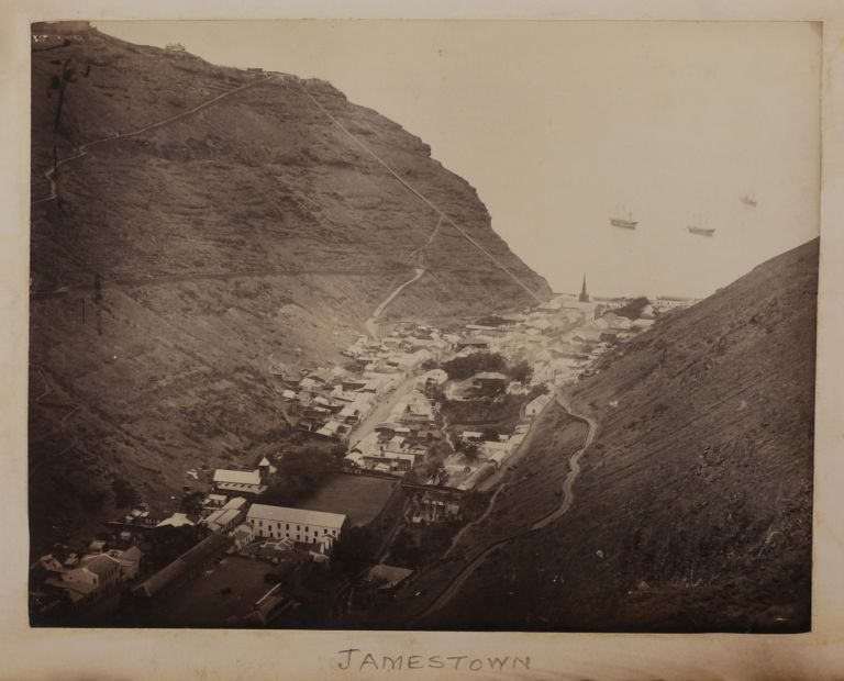 "[Historically Significant Album with 39 Original Albumen Photos of Saint Helena and Madeira; With a Loosely Inserted Piece of ""Wallpaper, Longwood Dining Room, St. Helena"" (ca. 2x4,5 cm) and Several Related Ephemera]. AFRICA - SAINT HELENA, MADEIRA."