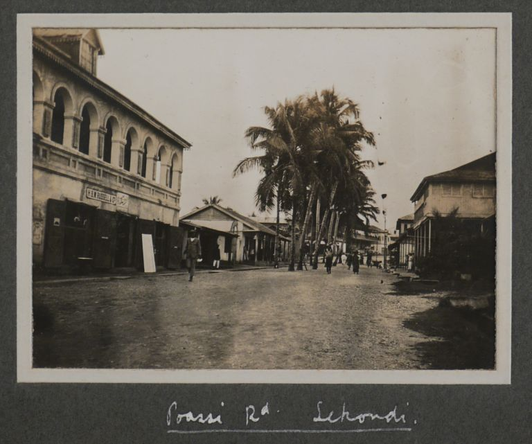 "[Album with 96 Original Gelatin Silver Photographs of the British Gold Coast Colony, Showing the Hospital and Medical Officer's Office and Quarters in Sekondi, the Construction of Sekondi Waterworks, Street Drains in Chama, ""Preventive Station, Fasu,"" General and Street Views of Sekondi, Axim, Half Assini, Tarkwa, Chama, Dixcove, Kade, Anum, ""Derelict Gold Dredge at Kibbi,"" etc.]. AFRICA - GHANA."