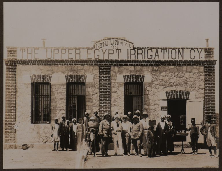 """[Album with Twenty-Four Original Gelatin Silver Photos Showing Newly Built Irrigation Canals and Stations of the German-Owned """"Upper Egypt Irrigation Company""""]. MIDDLE EAST, ISLAMIC WORLD - EGYPT - UPPER, Daniel HIESINGER, Jean-Pascal SEBAH, Paul DITTRICH."""