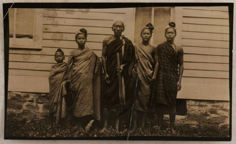[Important Collection of Forty Loose Gelatin Silver Photos Showing the American Baptist Missionary Station in Hakha, Chin Hills, Western Burma (Myanmar), Missionary Dr. East and His Wife, Chin Converts into Christianity, Native Chiefs, Families, Villages, Ritual Objects, Scenes from a Christian Baptism and Wedding, Traditional Funeral Ceremony, Khuang-Tsawi Festival, etc.]. ASIA - MYANMAR, Erik Hjalmar EAST.