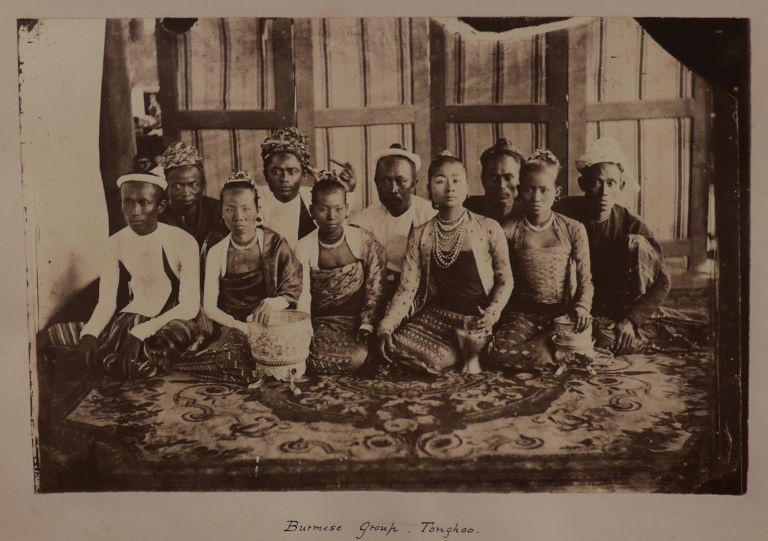 [Album with Forty Rare Early Albumen Photographs, Collected by a British Officer Stationed in Burma in the 1870s, and Showing the Great Golden Padoga and British Officers' Mess in Rangoon/Yangon, Kyaikpun Pagoda near Pegu/Bago, the Elephant Battery and River Views at Tonghoo/Taungoo, Portraits of British Officers and Civil Residents, Burmese People, and Nine Photos of the British Penal Colony on the Ross and Viper Islands of the Andaman Group]. ASIA - MYANMAR, ANDAMAN ISLANDS.