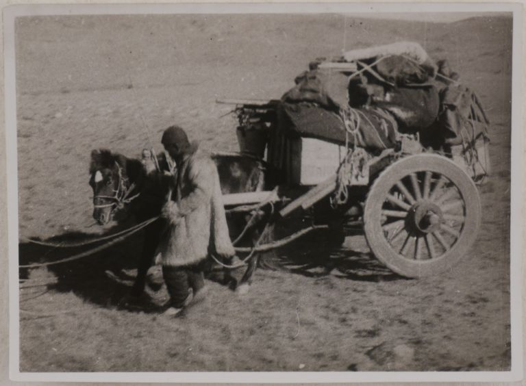 [Collection of Thirty-Three Loose Gelatin Silver Photos, Taken in the Modern-Day Xinjiang Uyghur Autonomous Region of China during Hedin's Sino-Swedish Expedition of 1927-35; With Hedin's Carte-de-visite, and Two Published Accounts of the Expedition, Featuring Four of the Photos from the Collection: Hedin, S. Åter till Asien (Stockholm, 1928), and Berger, A., Lieberenz, P. Mit Sven Hedin durch Asiens Wüsten (Berlin, 1932)]. ASIA - CHINA, Sven HEDIN, Paul LIEBERENZ, photographer.