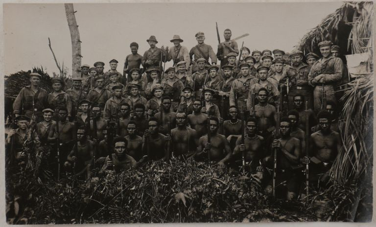 [Collection of 94 Loose Gelatin Silver Photographs, Documenting the Events of the Sokehs Rebellion on Ponhpei Island, with Several of the Photos Appearing in the Main Contemporary Accounts of the Rebellion; The Photos show Sokehs Island, German Naval Ships, Marines and Melanesian Policemen, Captured Rebels' Fortifications and Dwellings, Captured Rebels before their Execution, Ponape Cemetery, Colonial Residents, etc.]. PACIFIC - POHNPEI ISLAND – THE SOKEHS REBELLION.