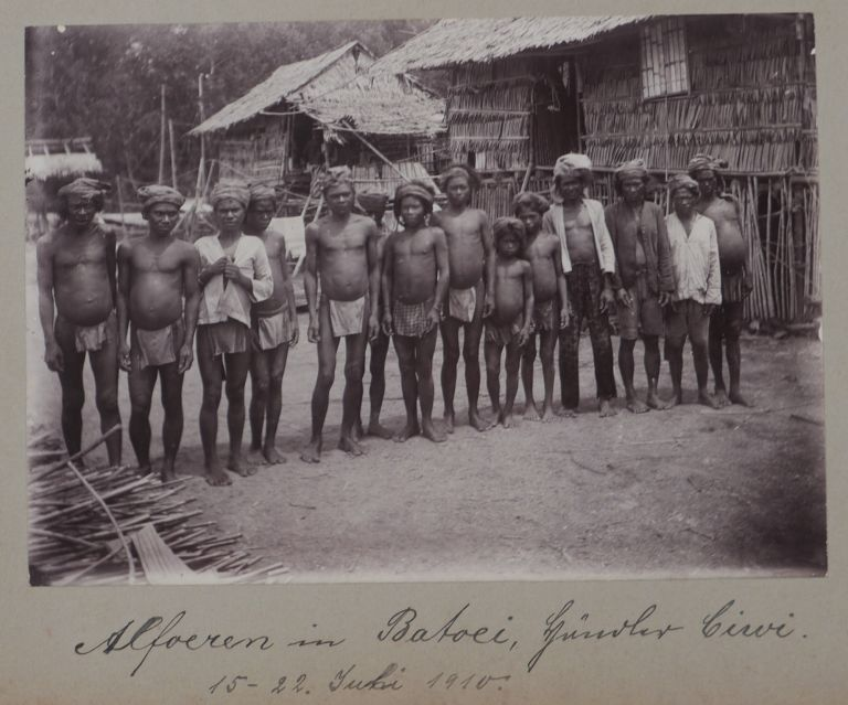 [Album of Eighty Gelatin Silver Photographs, Including Thirty-Two of Sulawesi, Twenty-Three of Sumatra, Twelve of South Sumatra, five of Lei Lei Island, five of New Guinea, two of Ternate Island, and one of Taliabu Island, Including many Ethnographic ones Taken and Compiled by a German Colonial Resident Involved in Maritime Transport in Sulawesi and Kalimantan.]. SULAWESI ASIA - INDONESIA - KALIMANTAN, SUMATRA.