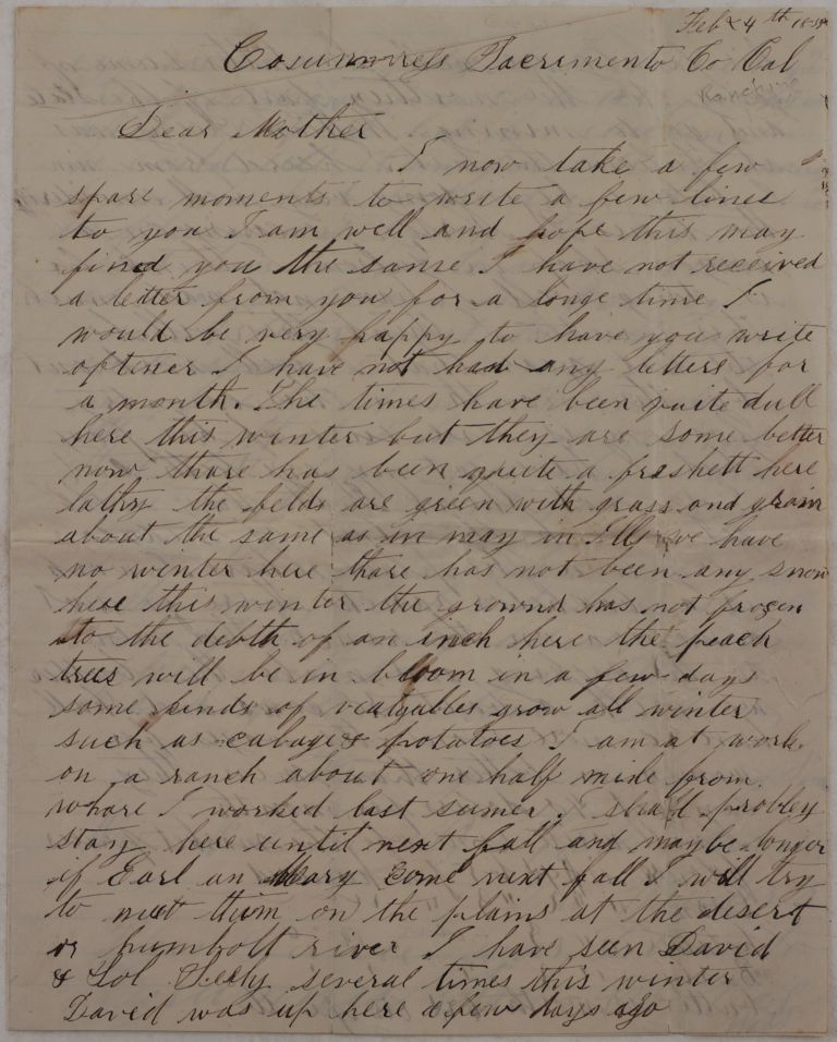 """[Original Autograph Letter Signed and Addressed to his Mother and signed """"Wales Averill, the Wanderer,"""" Talking about His Time Working on a Bachelor's Ranch in the Cosumnes River Valley, Where """"Womens' Wages Higher Than Mens,' and Men were Milking Cows and Learning how to """"Cook, Wash and Sew as well [as] Some of the Young Ladies Nowadays…""""]. NORTH AMERICA - CALIFORNIA - COSUMNES RIVER, Wales AVERILL."""