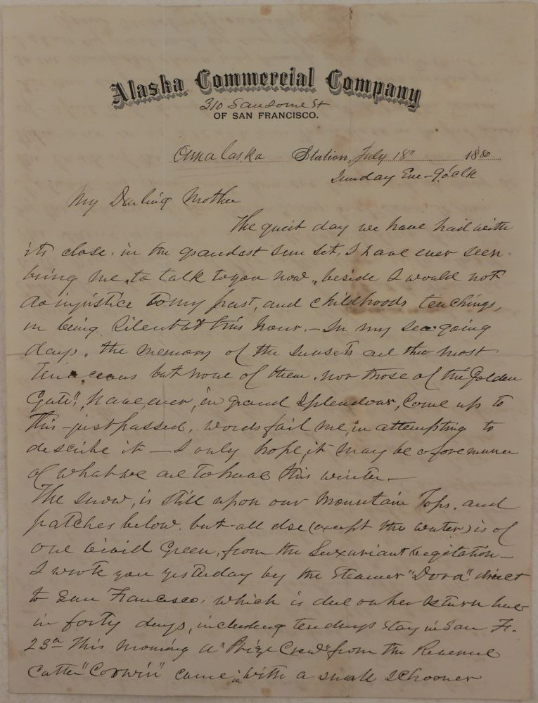 "[Original Autograph Letter Signed by ""Frank"" to His Mother, Mentioning ACC's Steamship ""Dora,"" USRC ""Corwin"" and Its Search for USS ""Jeannette"" in the Bering Sea, Unalaska's Sunsets, ""Corwin"" Capturing a Small Schooner  Selling Liquor to the Indians,"" etc.]. NORTH AMERICA - ALASKA COMMERCIAL COMPANY - UNALASKA."