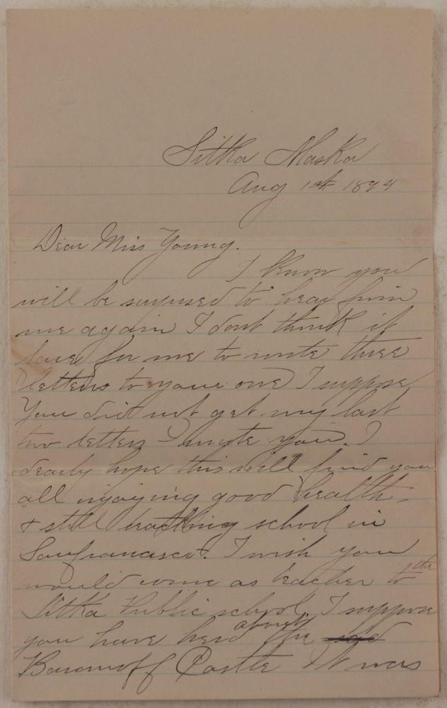 [Original Autograph Letter Signed by Julia Haley, Daughter of Noted Sitka Pioneer and Miner Nicholas Haley, Giving an Eye-Witness Account of Burning of Sitka's Baranof Castle on March 17, 1894]. NORTH AMERICA - ALASKA - SITKA - BARANOF CASTLE, Julia E. HALEY.