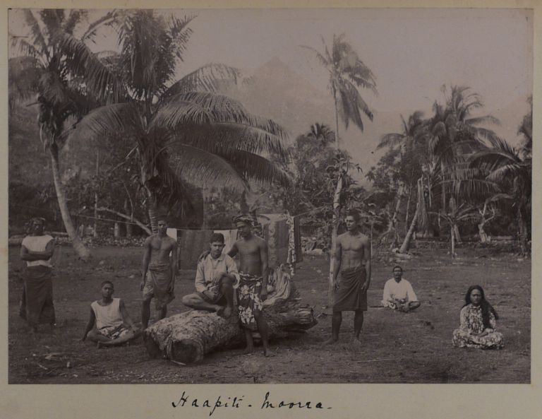 [Historically Interesting Collection of Twenty-four Gelatin Silver Photographs of Views of French Polynesia Including Views from the Islands of Moorea, Raiatea and Tahiti, Showing the Native People, Their Daily Activities, Habitations and Villages, Important Landmarks and Colonial Buildings]. PACIFIC - FRENCH POLYNESIA.