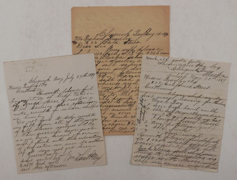 "[Collection of Three Original Autograph Letters Signed by W.D. Smith, Owner of the ""Shumagin Packing Company"" in the Chignik Bay (Alaska Peninsula), Addressed to His Agents in San Francisco and Discussing Financial Operations and Shipping of Supplies and Canned Salmon]. NORTH AMERICA - ALASKA – SHUMAGIN PACKING COMPANY, . D. SMITH, illiam."