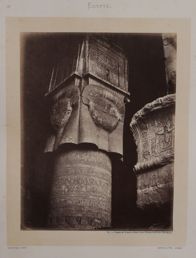 [Album with Forty-five Early Large Original Black Signature Bonfils Albumen Photographs of Egypt Showing Thebes, Dendera, the Pyramids, Cairo and Alexandria Titled:] Egypte. MIDDLE EAST, ISLAMIC WORLD - EGYPT.