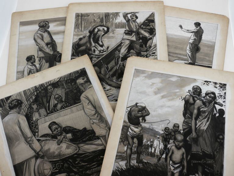 [Collection of Five Large Signed Mounted Black and White Monochrome Watercolours Showing Scenes of David Livingstone's Last Expedition Including his Meeting with Henry Stanley]. AFRICA - LIVINGSTONE, Leo BATES.