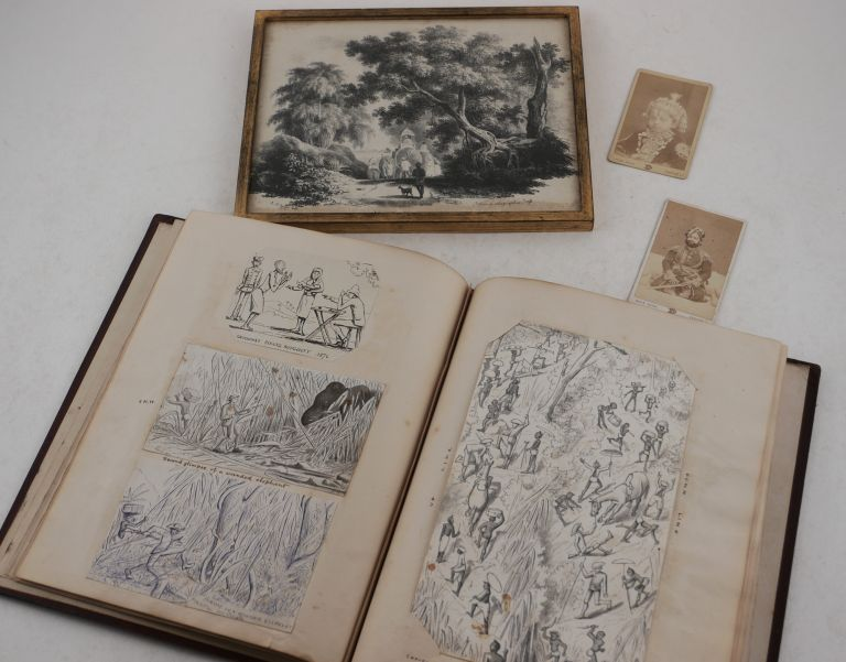 """[Attractive Private Scrap Book with Forty-Two Original Ink, Pencil, Pen and Wash Drawings and Watercolours, Eleven Albumen Photographs (Including Two Carte-de-Visite Portraits by Lala Deen Dayal), and Two Rare Lithographs by the """"Behar Lithographic Press"""" (After Sketches by Sir Charles D'Oyly). The Scrap Book Shows Winterbotham's Work and Leisure Activities while in Service in Southwestern India (Calabar, Enamakkal Lake, Karimpuzha River, Sispara Mountain, Nandi Hills, Elathur, etc.). ASIA - INDIA, Henry Martin WINTERBOTHAM."""