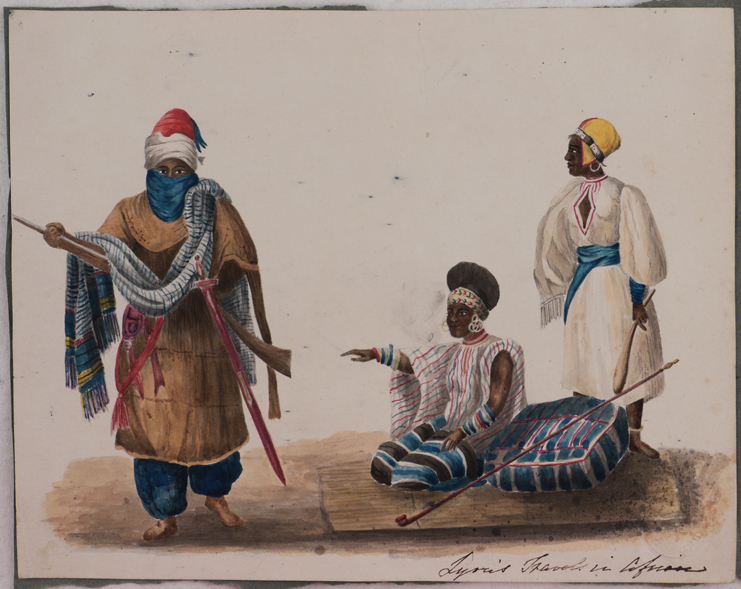 "[Original Unsigned Watercolour Showing a ""Tuarick of Ghraat"" and ""Negresses of the Soudan,"" Combined from two Illustrations in Lyon's ""A Narrative of Travels in Northern Africa,"" Titled in Brown ink:] Lyon's Travels in Africa. MIDDLE EAST, ISLAMIC WORLD - LIBYA."