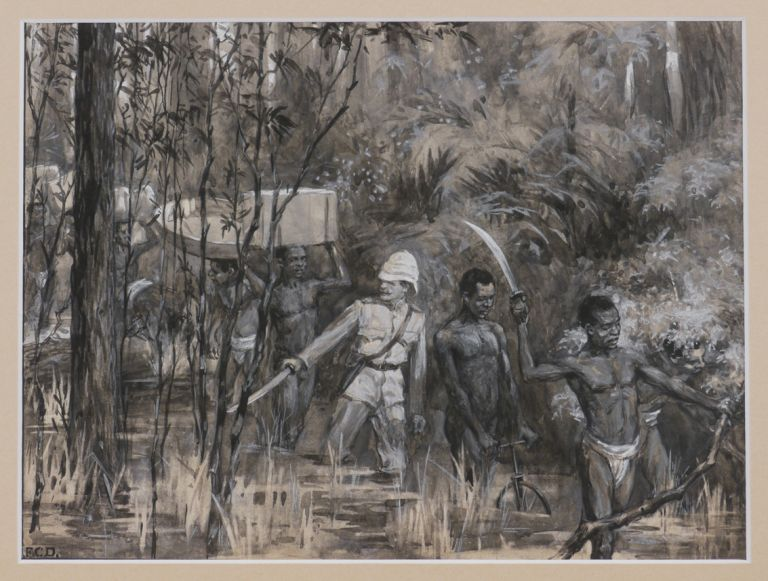 "[Original Watercolour prepared for the ""Graphic"", Where it is Titled]: ""Combating the Difficulties of a new Route to Kumassi."" AFRICA - GOLD COAST - RAILWAY, F. C. DICKINSON."