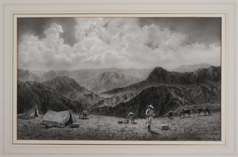 """[A Grisaille Watercolour Signed """"V. Coverley-Price"""" Titled:] Camp At 12,000 feet on the edge of the Puna in the Andes of Central Peru. SOUTH AMERICA - PERU - PUNA, A. Victor COVERLEY-PRICE."""