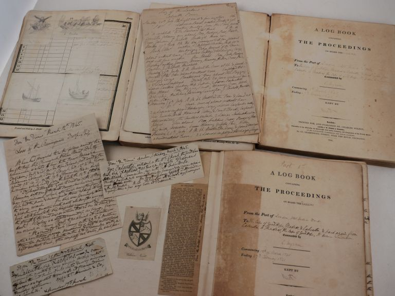 """[Collection of Three Volumes of Logbooks, Recording the Voyage of the East India Contract Ship """"Larkins"""" (Captain Charles Ingram) from London to Calcutta via Cape of Good Hope and Madras, and Back to London via Madras, Cape of Good Hope and St. Helena, 12 March 1840 – 27 February 1841]. ASIA - INDIA – EAST INDIAMAN'S LOGBOOKS, William NEVETT, Midshipman, H. WATT, Fourth Mate."""