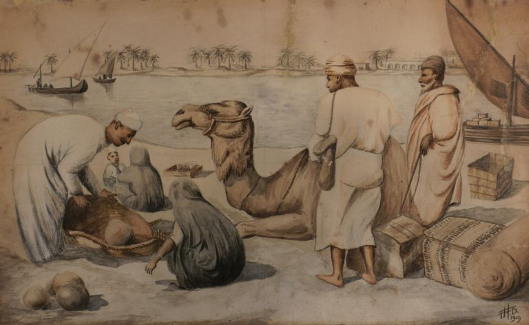 [Original Watercolour, Captioned:] A Shopping Scene on the Tigris. MIDDLE EAST, ISLAMIC WORLD - IRAQ, Bert.