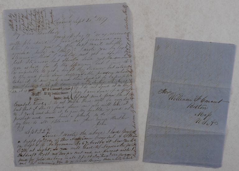 [Pair of Autograph Letters Signed by a Young American Merchant in Panama City to His Brother in Boston]. CENTRAL AMERICA - PANAMA, John H. CONANT, William F. CONANT.
