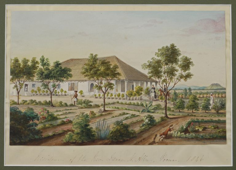 [Finely Executed Unsigned Watercolour of:] Residence of the Rev. Isaac N. Allen, Poona. 1846. ASIA - INDIA - PUNE.