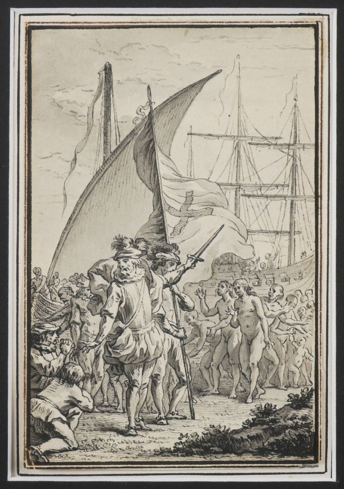 [Elegant Grisaille Watercolour Showing Columbus Landing in America with the Explorer Encouraging his Party to go Forward, and a Group of Native Americans and a Spanish Ship in the Background]. CARIBBEAN - COLUMBUS.
