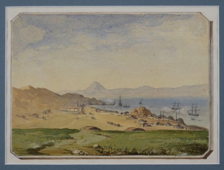 [Original Watercolour Showing the Harbour of Coquimbo, Chile]. SOUTH AMERICA - CHILE, B. J. PRITCHETT.